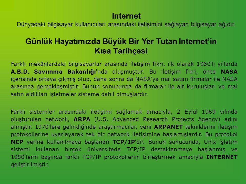 Internet Dünyadaki bilgisayar kullanıcıları arasındaki iletişimini sağlayan bilgisayar ağıdır.