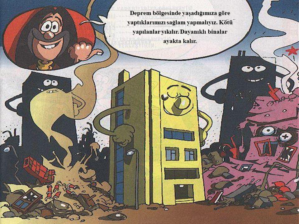 Deprem bölgesinde yaşadığımıza göre yaptıklarımızı sağlam yapmalıyız. Kötü yapılanlar yıkılır. Dayanıklı binalar ayakta kalır.