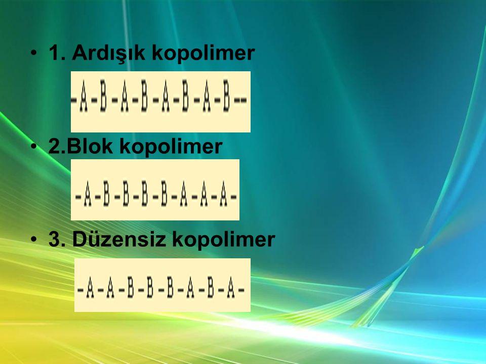 •1. Ardışık kopolimer •2.Blok kopolimer •3. Düzensiz kopolimer