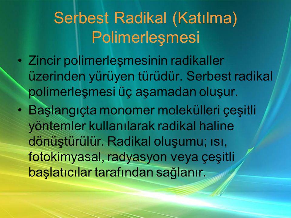 Serbest Radikal (Katılma) Polimerleşmesi •Zincir polimerleşmesinin radikaller üzerinden yürüyen türüdür.