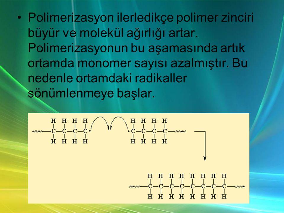 •Polimerizasyon ilerledikçe polimer zinciri büyür ve molekül ağırlığı artar.