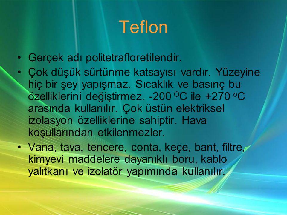 Teflon •Gerçek adı politetrafloretilendir.•Çok düşük sürtünme katsayısı vardır.
