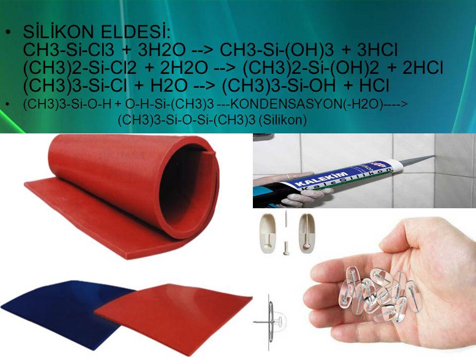 •SİLİKON ELDESİ: CH3-Si-Cl3 + 3H2O --> CH3-Si-(OH)3 + 3HCl (CH3)2-Si-Cl2 + 2H2O --> (CH3)2-Si-(OH)2 + 2HCl (CH3)3-Si-Cl + H2O --> (CH3)3-Si-OH + HCl •(CH3)3-Si-O-H + O-H-Si-(CH3)3 ---KONDENSASYON(-H2O)----> (CH3)3-Si-O-Si-(CH3)3 (Silikon)