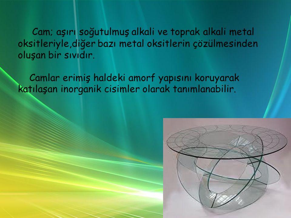 Cam; aşırı soğutulmuş alkali ve toprak alkali metal oksitleriyle,diğer bazı metal oksitlerin çözülmesinden oluşan bir sıvıdır.
