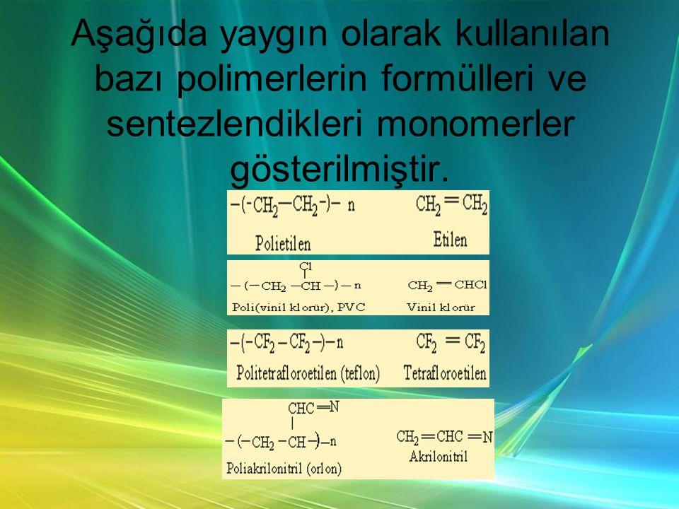 Aşağıda yaygın olarak kullanılan bazı polimerlerin formülleri ve sentezlendikleri monomerler gösterilmiştir.