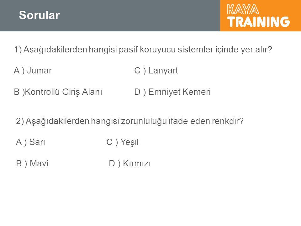 Sorular 1) Aşağıdakilerden hangisi pasif koruyucu sistemler içinde yer alır? A ) JumarC ) Lanyart B )Kontrollü Giriş Alanı D ) Emniyet Kemeri 2) Aşağı