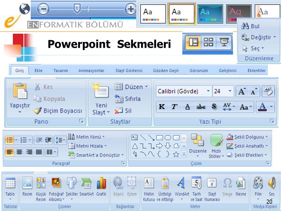 Office Düğmesi – Baskı Önizleme  Oluşturduğunuz belgenin yazıcıdan çıktısını almadan önceki son durumunu size verir. 19