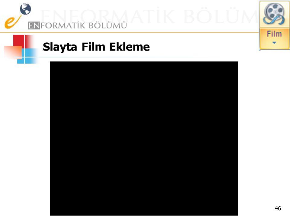 Slayta Film Ekleme 45 Filmler,.avi,.mov, mpg ve.mpeg gibi uzantıları olan AVI veya MPEG biçimindeki video dosyalarıdır. Tipik bir filmde, gerçek sunud