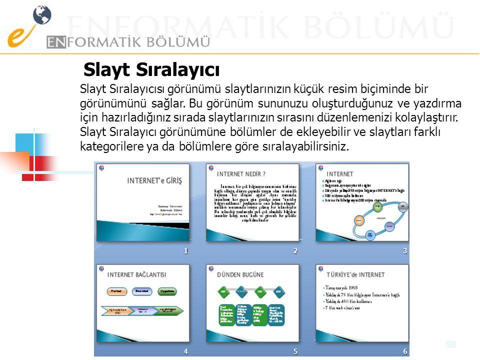 Slayt Düğmeleri Normal Slayt Sıralayıcı Slayt Gösterisi 57 Hazırlamış olduğunuz sunum sayfası görüntü kiplerini değiştirebilirsiniz. Bunun için Görünü