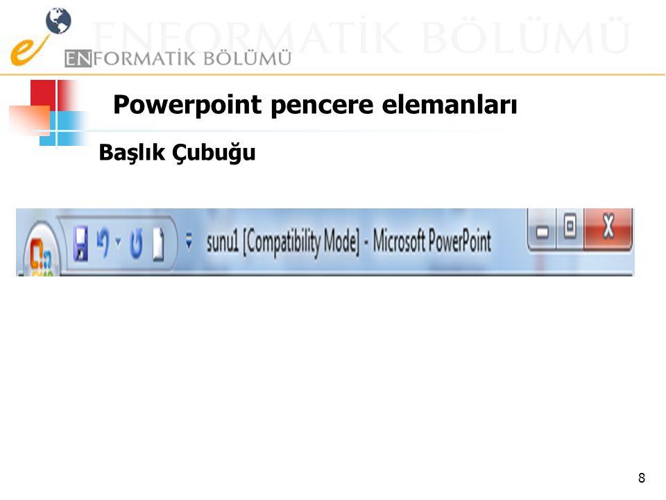Powerpoint pencere elemanları Başlık Çubuğu 8