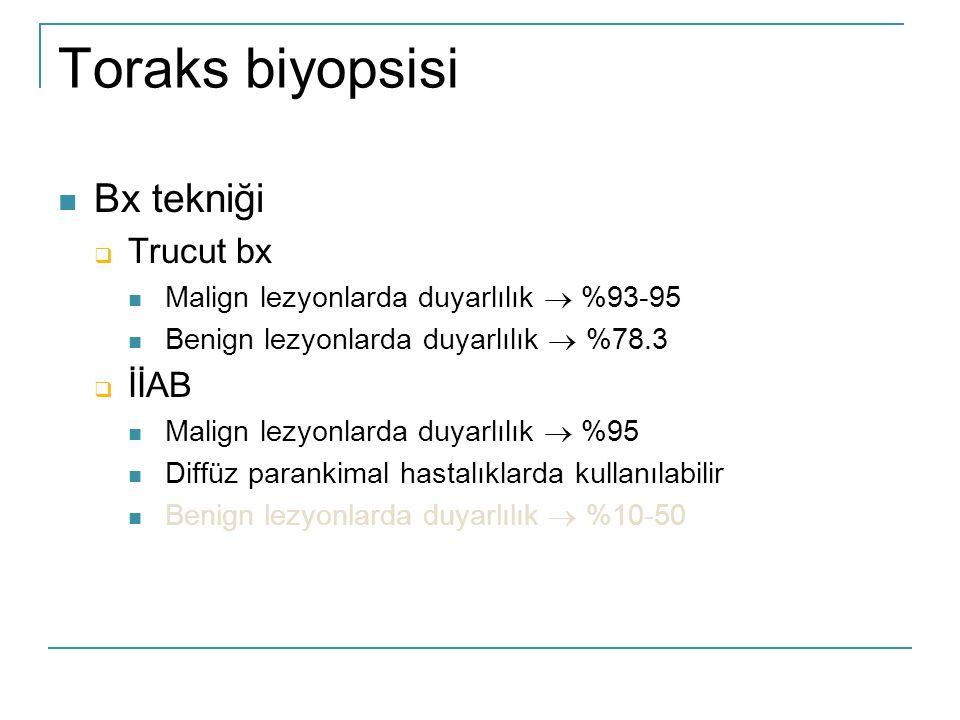 Toraks biyopsisi  Bx tekniği  Trucut bx  Malign lezyonlarda duyarlılık  %93-95  Benign lezyonlarda duyarlılık  %78.3  İİAB  Malign lezyonlarda duyarlılık  %95  Diffüz parankimal hastalıklarda kullanılabilir  Benign lezyonlarda duyarlılık  %10-50