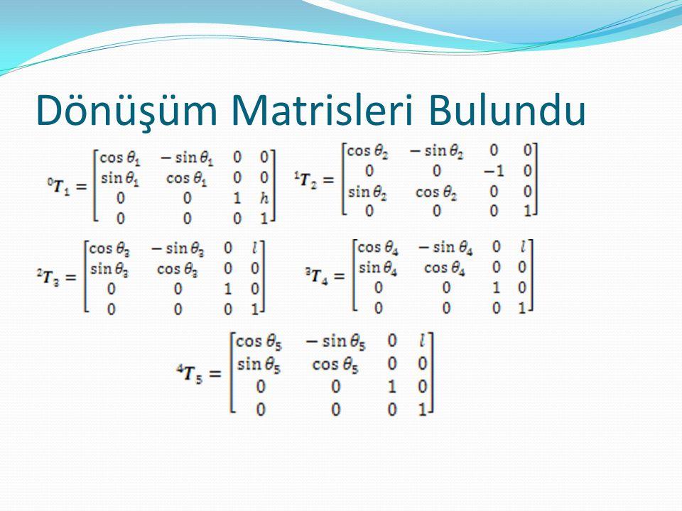 Dönüşüm Matrisleri Çarpıldı.1.Denklem bulunan, eklem açıları cinsindendir.