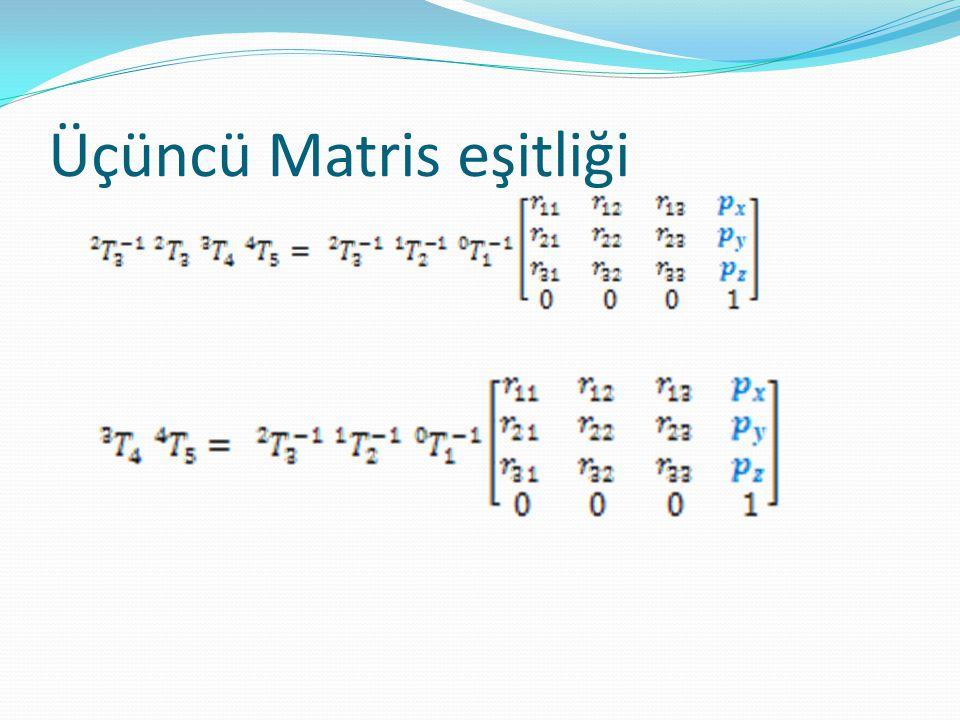 Üçüncü matris eşitliği  Konum Vektörlerini eşitledik. 3 denklemimiz oldu.