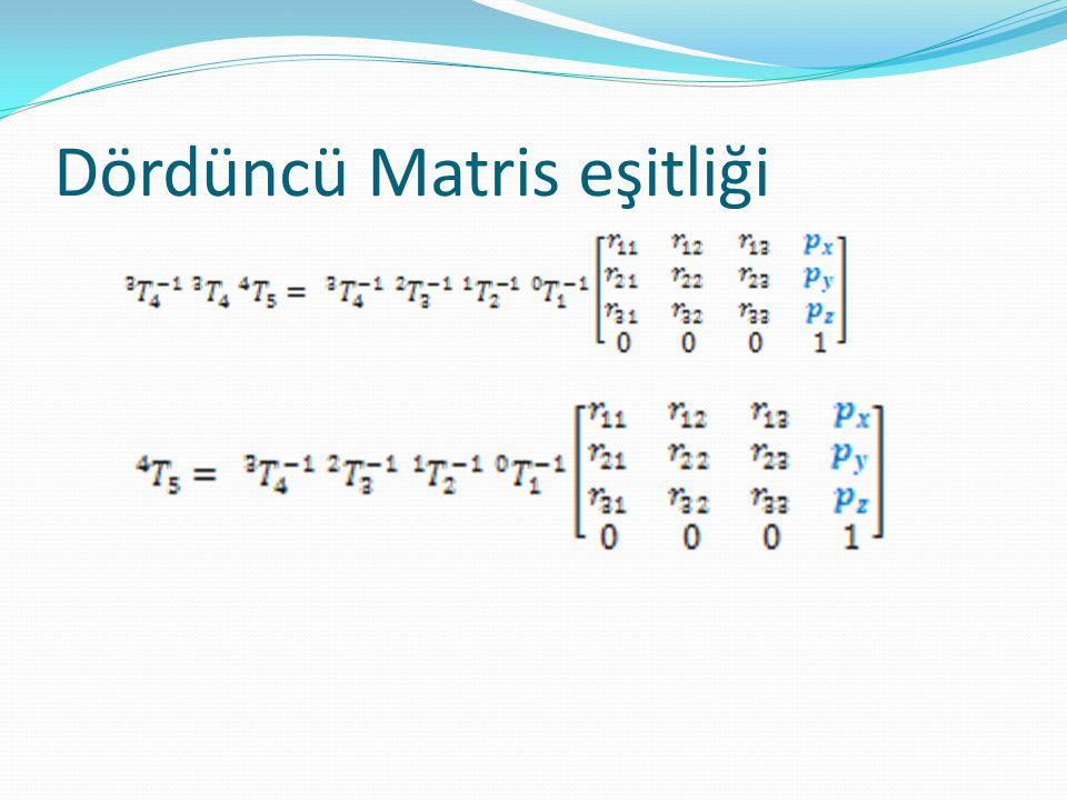 Dördüncü matris eşitliği  Konum Vektörlerini eşitledik. 3 denklemimiz oldu.