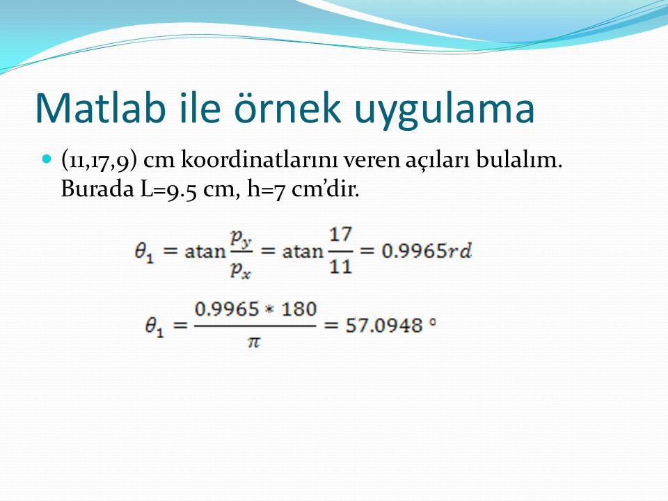 Matlab ile örnek uygulama  (11,17,9) cm koordinatlarını veren açıları bulalım. Burada L=9.5 cm, h=7 cm'dir.