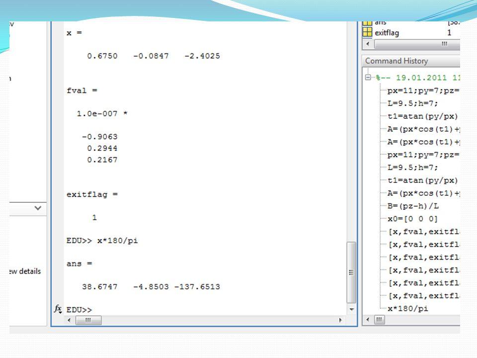Çalışmanın LabVIEW'de uygulaması, Yörünge Hesabı Fonksiyon AdıSembolüAçıklama T01.vi Yükseklik-h, Kol Uzunluğu-L ve açı değerlerinden dönüşüm matrisini oluşturur.