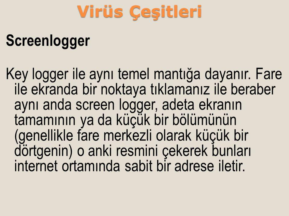 Screenlogger Key logger ile aynı temel mantığa dayanır. Fare ile ekranda bir noktaya tıklamanız ile beraber aynı anda screen logger, adeta ekranın tam