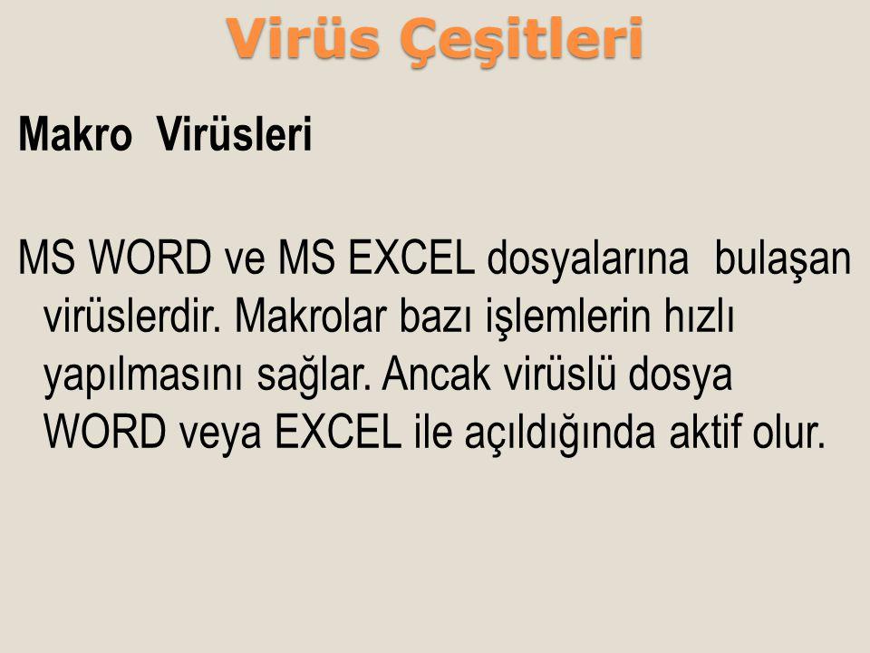 Makro Virüsleri MS WORD ve MS EXCEL dosyalarına bulaşan virüslerdir. Makrolar bazı işlemlerin hızlı yapılmasını sağlar. Ancak virüslü dosya WORD veya