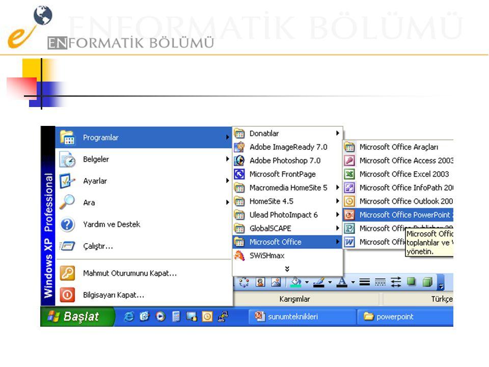 Bir sunum uygulamasını açmak PowerPoint'in başlatılması için 'Başlat' menüsü içindeki 'Tüm Programlar'dan yararlanılır. Diğer Office programları gibi