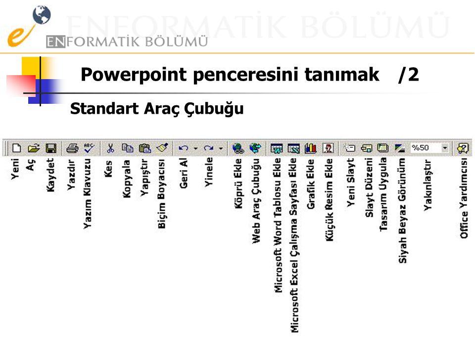 Powerpoint penceresini tanımak. Başlık Çubuğu