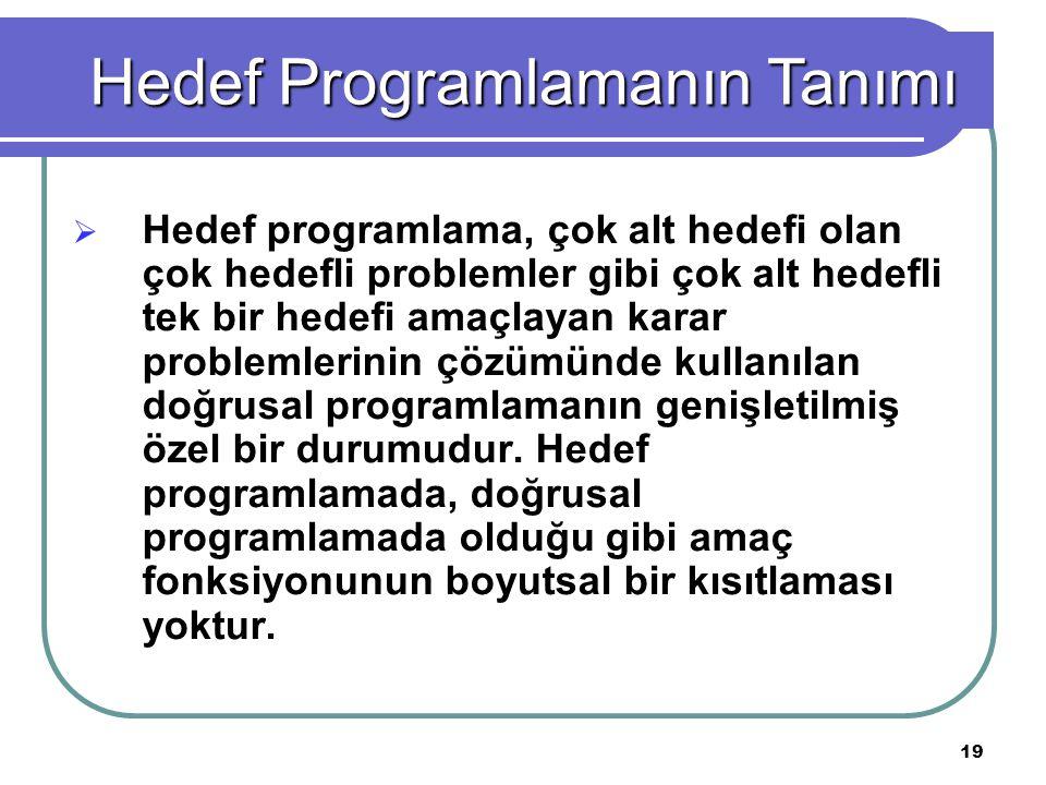 19  Hedef programlama, çok alt hedefi olan çok hedefli problemler gibi çok alt hedefli tek bir hedefi amaçlayan karar problemlerinin çözümünde kullanılan doğrusal programlamanın genişletilmiş özel bir durumudur.