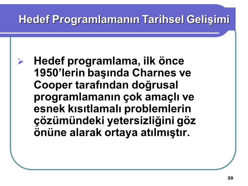 20  Hedef programlama, ilk önce 1950'lerin başında Charnes ve Cooper tarafından doğrusal programlamanın çok amaçlı ve esnek kısıtlamalı problemlerin çözümündeki yetersizliğini göz önüne alarak ortaya atılmıştır.