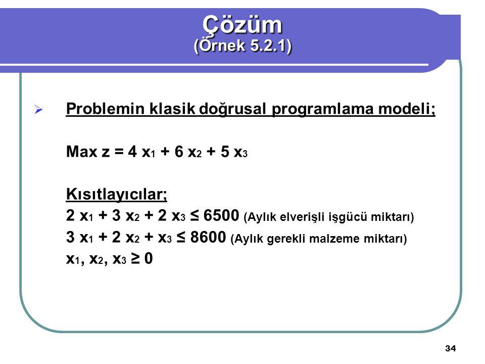 34  Problemin klasik doğrusal programlama modeli; Max z = 4 x 1 + 6 x 2 + 5 x 3 Kısıtlayıcılar; 2 x 1 + 3 x 2 + 2 x 3 ≤ 6500 (Aylık elverişli işgücü miktarı) 3 x 1 + 2 x 2 + x 3 ≤ 8600 (Aylık gerekli malzeme miktarı) x 1, x 2, x 3 ≥ 0 Çözüm (Örnek 5.2.1)