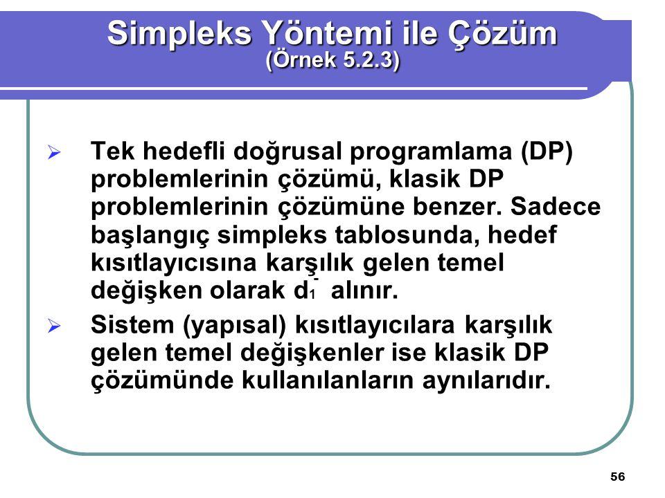 56  Tek hedefli doğrusal programlama (DP) problemlerinin çözümü, klasik DP problemlerinin çözümüne benzer.
