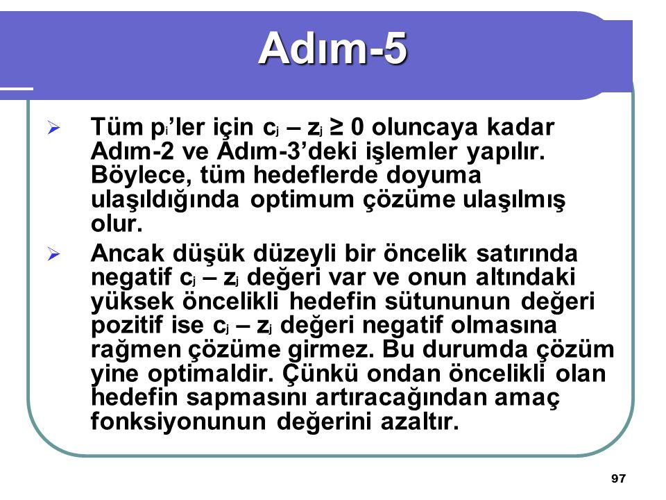 97  Tüm p i 'ler için c j – z j ≥ 0 oluncaya kadar Adım-2 ve Adım-3'deki işlemler yapılır.