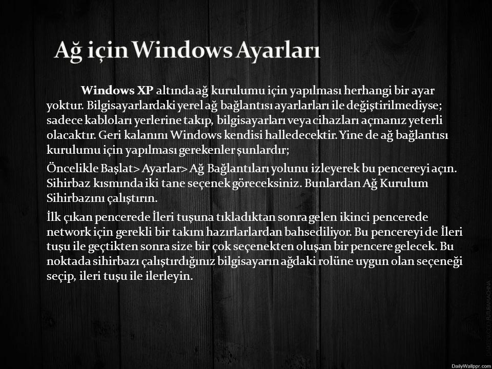 Windows XP altında ağ kurulumu için yapılması herhangi bir ayar yoktur.