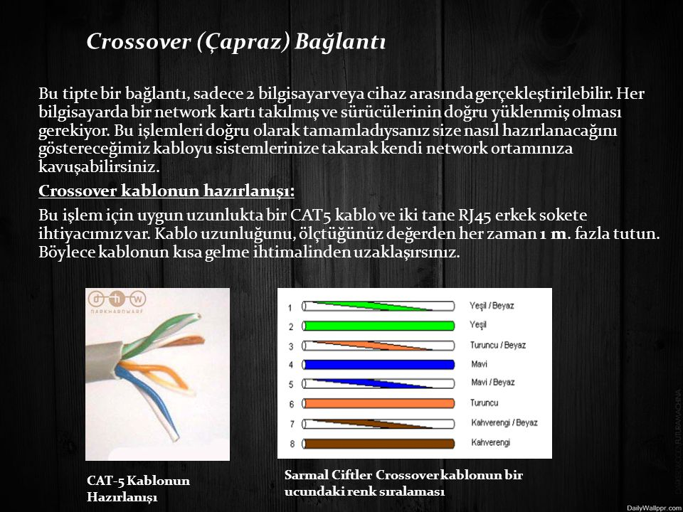 Crossover (Çapraz) Bağlantı Bu tipte bir bağlantı, sadece 2 bilgisayar veya cihaz arasında gerçekleştirilebilir.