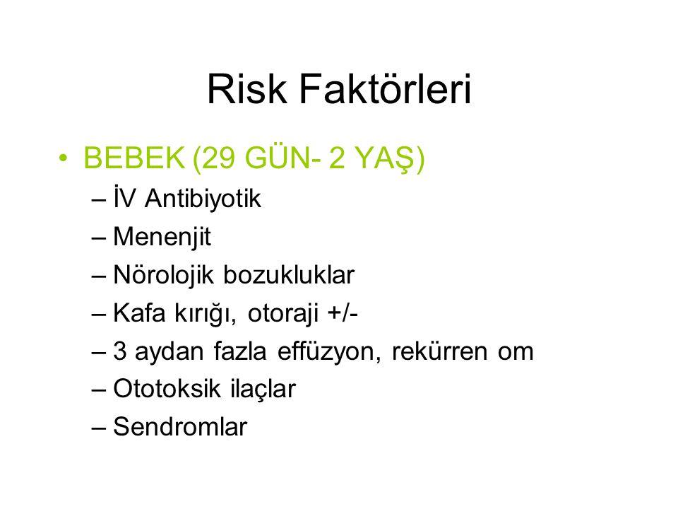 Risk Faktörleri •BEBEK (29 GÜN- 2 YAŞ) –İV Antibiyotik –Menenjit –Nörolojik bozukluklar –Kafa kırığı, otoraji +/- –3 aydan fazla effüzyon, rekürren om