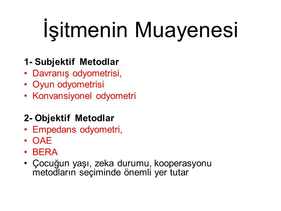 İşitmenin Muayenesi 1- Subjektif Metodlar •Davranış odyometrisi, •Oyun odyometrisi •Konvansiyonel odyometri 2- Objektif Metodlar •Empedans odyometri,