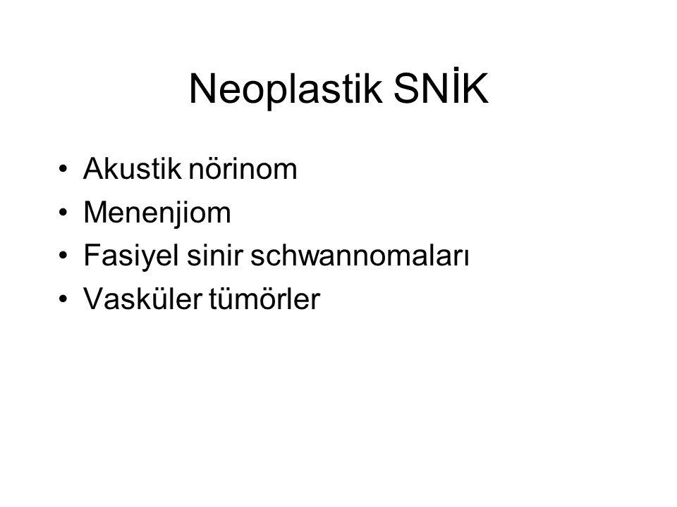 Neoplastik SNİK •Akustik nörinom •Menenjiom •Fasiyel sinir schwannomaları •Vasküler tümörler