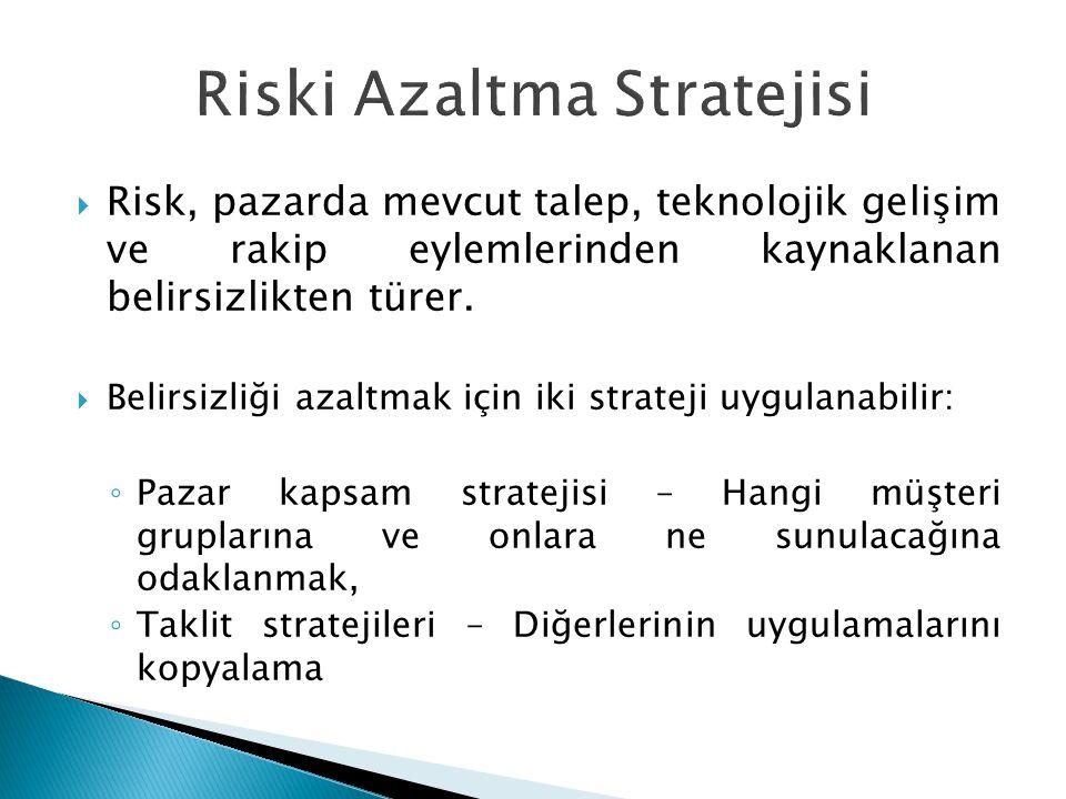  Risk, pazarda mevcut talep, teknolojik gelişim ve rakip eylemlerinden kaynaklanan belirsizlikten türer.  Belirsizliği azaltmak için iki strateji uy