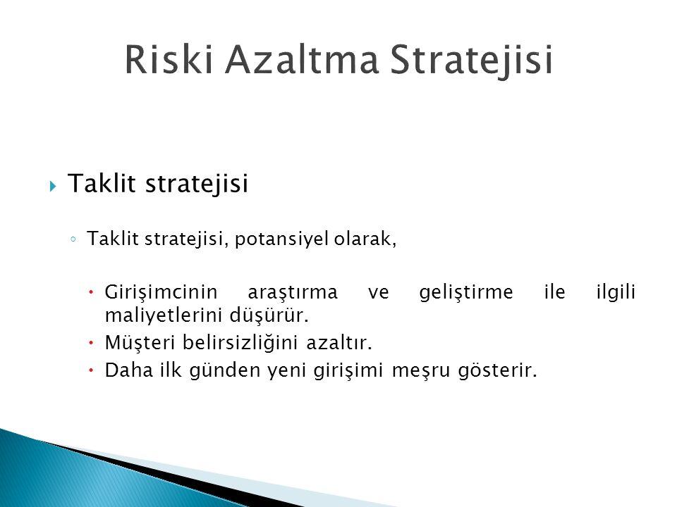  Taklit stratejisi ◦ Taklit stratejisi, potansiyel olarak,  Girişimcinin araştırma ve geliştirme ile ilgili maliyetlerini düşürür.  Müşteri belirsi