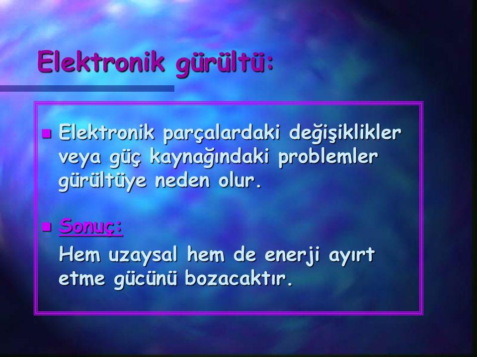 Elektronik gürültü: n Elektronik parçalardaki değişiklikler veya güç kaynağındaki problemler gürültüye neden olur. n Sonuç: Hem uzaysal hem de enerji