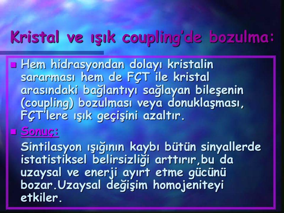 Kristal ve ışık coupling'de bozulma: n Hem hidrasyondan dolayı kristalin sararması hem de FÇT ile kristal arasındaki bağlantıyı sağlayan bileşenin (co
