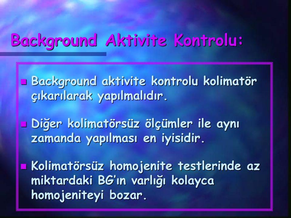 Background Aktivite Kontrolu: n Background aktivite kontrolu kolimatör çıkarılarak yapılmalıdır. n Diğer kolimatörsüz ölçümler ile aynı zamanda yapılm