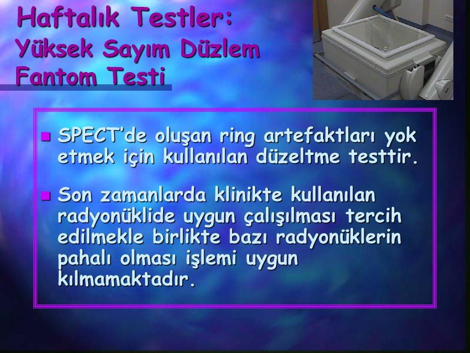 Haftalık Testler: Haftalık Testler: Yüksek Sayım Düzlem Fantom Testi Yüksek Sayım Düzlem Fantom Testi n SPECT'de kullanılacak kolimatör takılır.