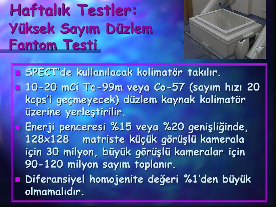 Haftalık Testler: Haftalık Testler: Yüksek Sayım Düzlem Fantom Testi Yüksek Sayım Düzlem Fantom Testi n SPECT'de kullanılacak kolimatör takılır. n 10-