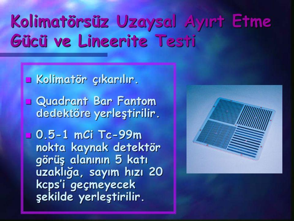 Kolimatörsüz Uzaysal Ayırt Etme Gücü ve Lineerite Testi n Kolimatör çıkarılır.  Quadrant Bar Fantom dedektöre yerleştirilir. n 0.5-1 mCi Tc-99m nokta