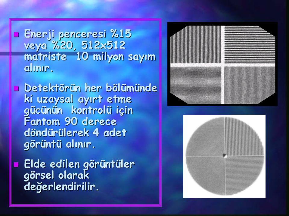 n Enerji penceresi %15 veya %20, 512x512 matriste 10 milyon sayım alınır. n Detektörün her bölümünde ki uzaysal ayırt etme gücünün kontrolü için Fanto