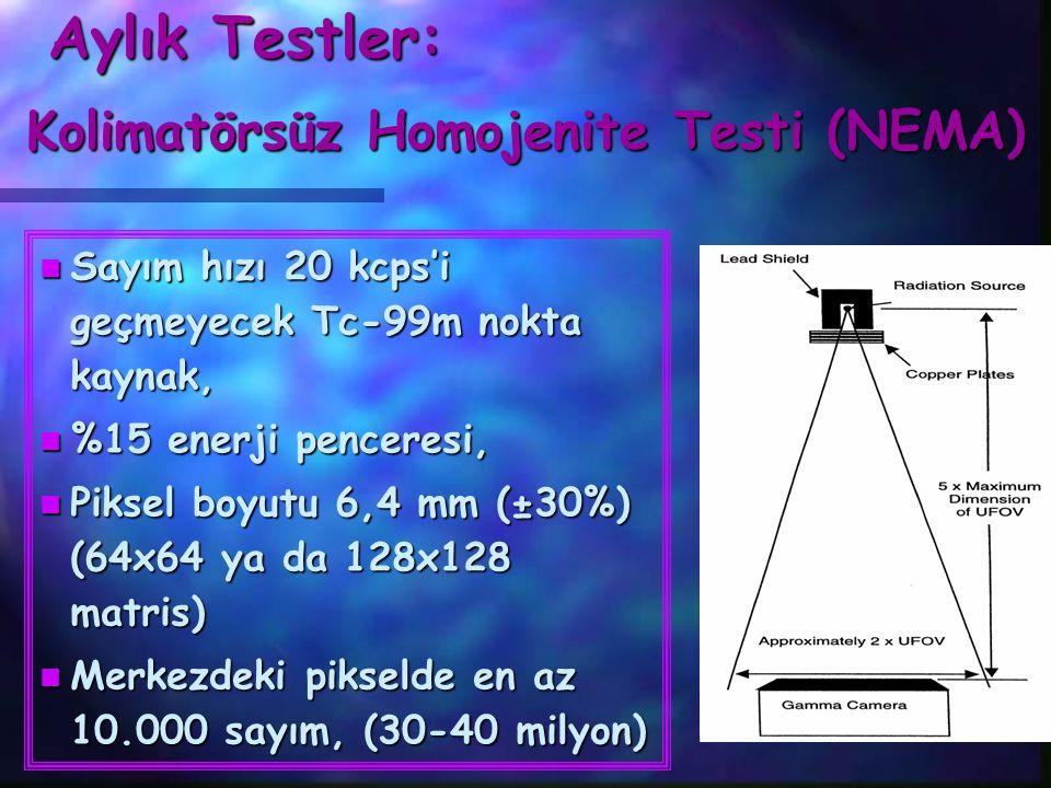 Aylık Testler: Kolimatörsüz Homojenite Testi (NEMA) n Sayım hızı 20 kcps'i geçmeyecek Tc-99m nokta kaynak, n %15 enerji penceresi, n Piksel boyutu 6,4