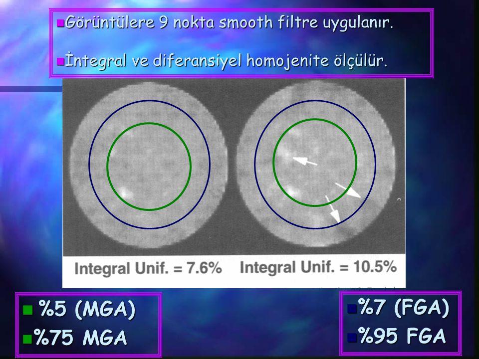  %5 (MGA) n %75 MGA  %7 (FGA)  %95 FGA  Görüntülere 9 nokta smooth filtre uygulanır.  İntegral ve diferansiyel homojenite ölçülür.