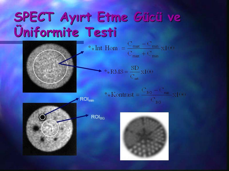 SPECT Ayırt Etme Gücü ve Üniformite Testi ROI BG ROI min