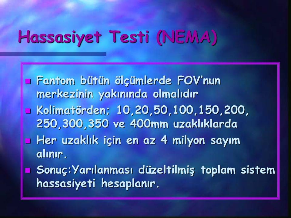 Hassasiyet Testi (NEMA) n Fantom bütün ölçümlerde FOV'nun merkezinin yakınında olmalıdır n Kolimatörden; 10,20,50,100,150,200, 250,300,350 ve 400mm uz