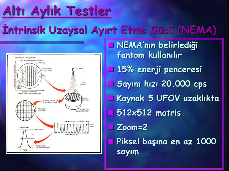 Altı Aylık Testler İntrinsik Uzaysal Ayırt Etme Gücü (NEMA)  NEMA'nın belirlediği fantom kullanılır  15% enerji penceresi  Sayım hızı 20.000 cps 