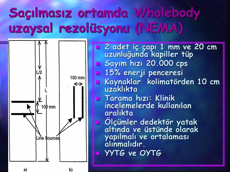 Saçılmasız ortamda Wholebody uzaysal rezolüsyonu (NEMA) n 2 adet iç çapı 1 mm ve 20 cm uzunluğunda kapiller tüp n Sayım hızı 20.000 cps n 15% enerji p