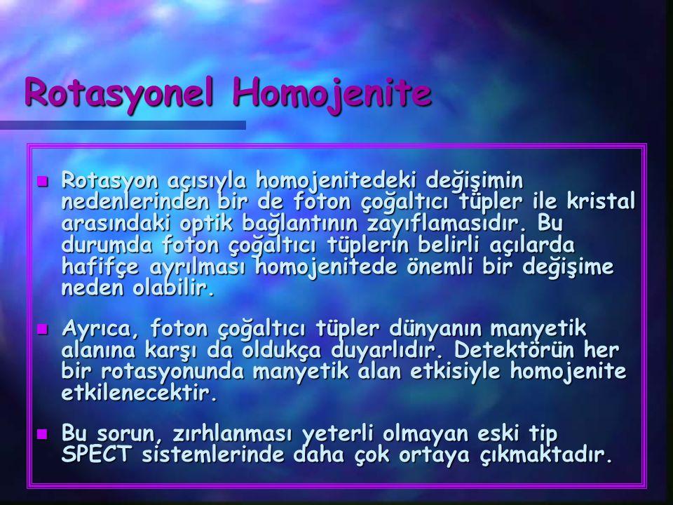 Rotasyonel Homojenite n Rotasyon açısıyla homojenitedeki değişimin nedenlerinden bir de foton çoğaltıcı tüpler ile kristal arasındaki optik bağlantını